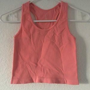 Stretchy pink crop tank top